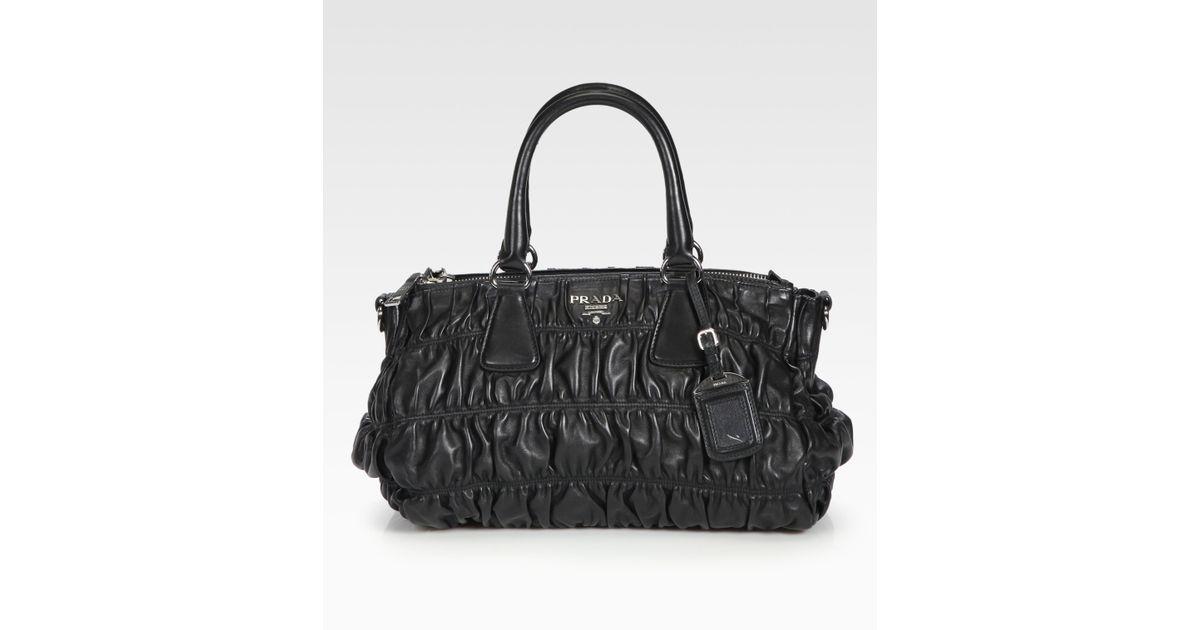 c6f1fc673f8b store large black prada gaufre tessuto tote 16337 17342  discount code for  lyst prada nappa gaufre ruched leather tote in black 68e64 7c354