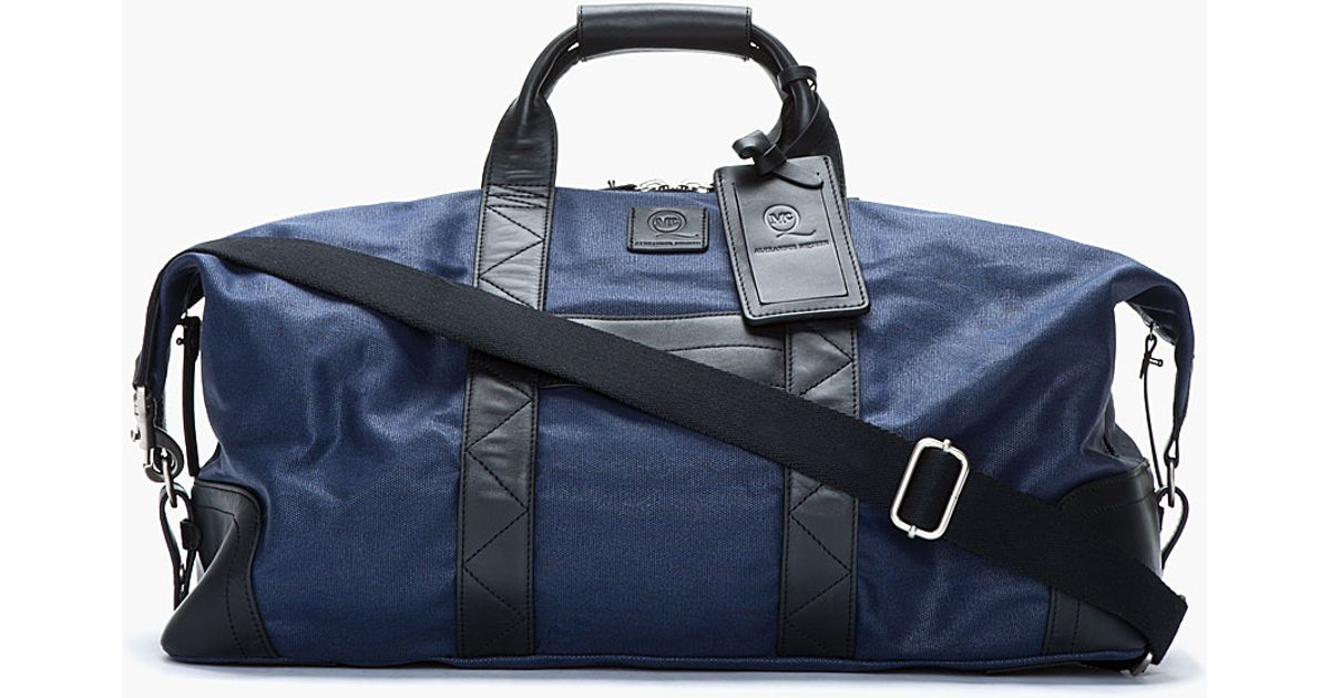 868ea4f6f6b5 Lyst - McQ Large Navy Waxed Canvas Weekender Duffle Bag in Blue for Men