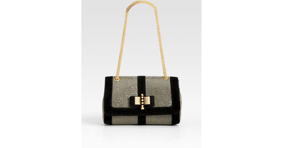 be7d0341e81 Christian Louboutin - Black Sweet Charity Glitter Suede Shoulder Bag - Lyst