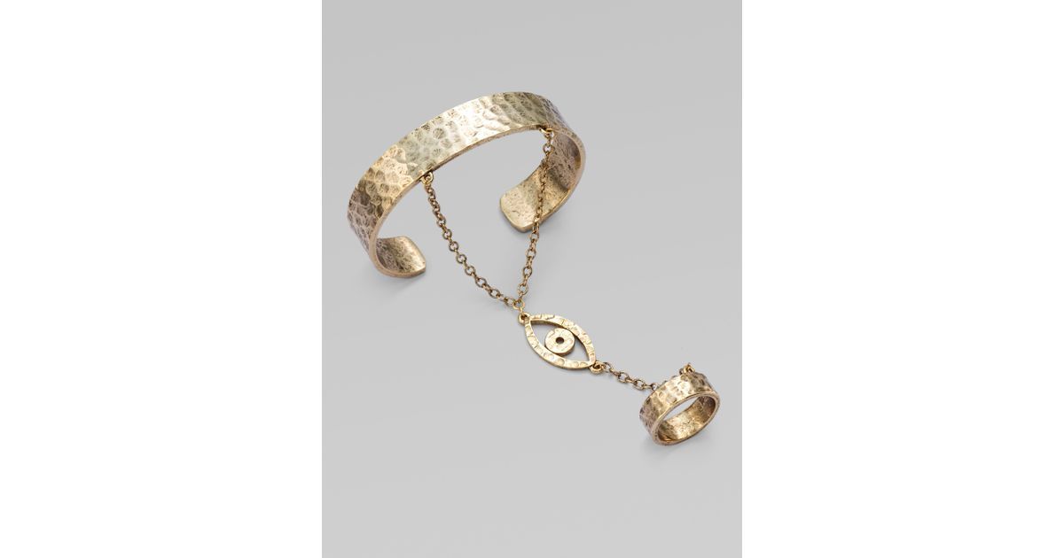 Lyst Low Luv By Erin Won Evil Eye Bracelet With Attached Ring In Metallic