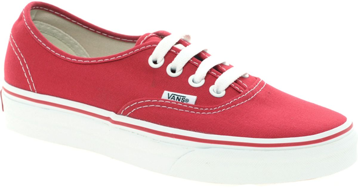 58a61520d5 Lyst - Vans Authentic Classic Red Lace Up Trainers in Red