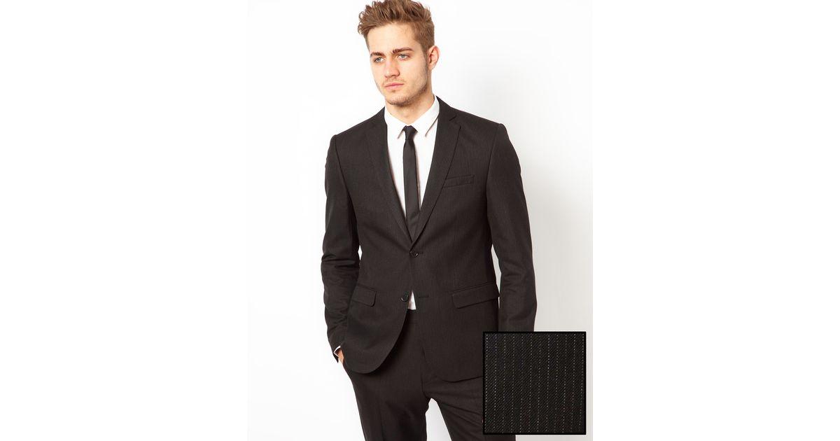 Asos Slim Fit Suit Jacket In Pinstripe in Black for Men | Lyst