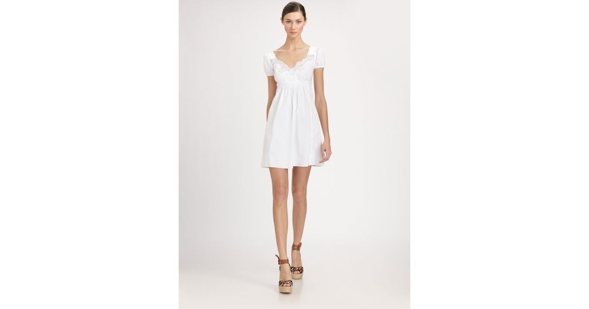 927db6f90cbe Dolce & Gabbana Babydoll Cotton Dress in White - Lyst