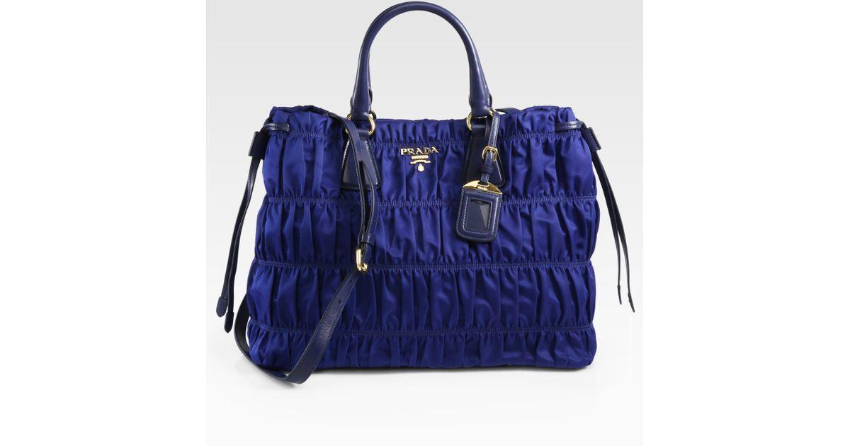 5b7731dd30cd ... 50% off lyst prada tessuto gaufre tote bag in blue 39dc1 bc58a