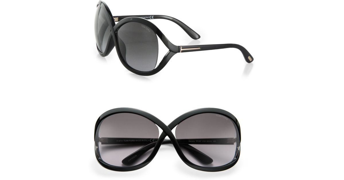 a5ac08e1280 Lyst - Tom Ford Sandra 62Mm Oversized Crossover Round Sunglasses in Black