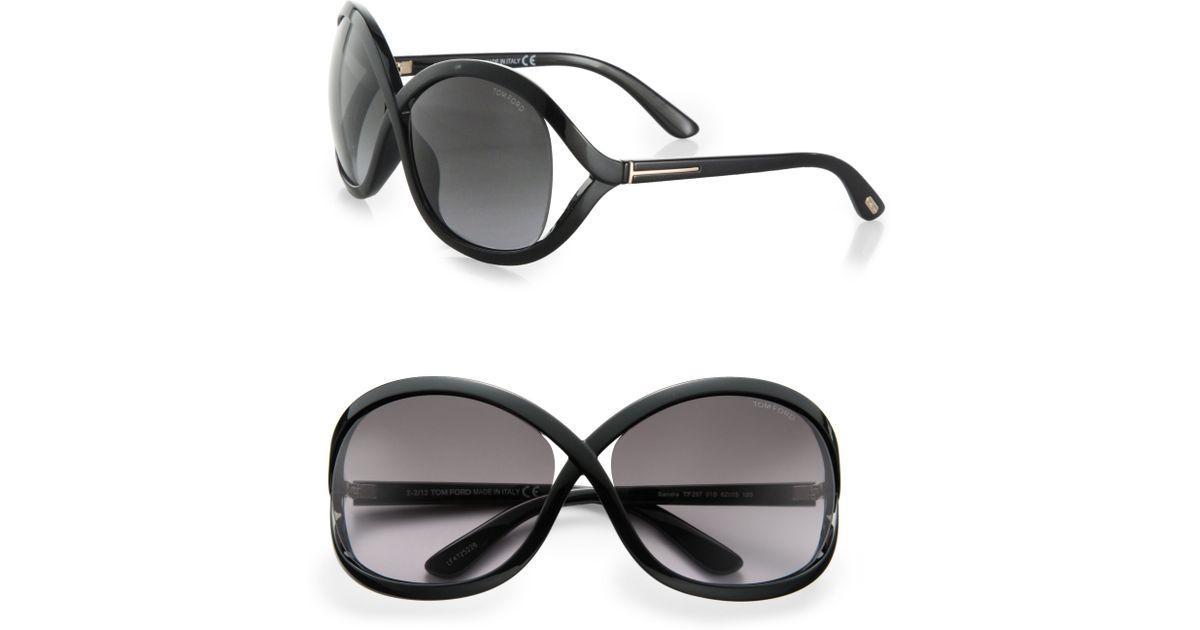 207b83030994 Lyst - Tom Ford Sandra 62Mm Oversized Crossover Round Sunglasses in Black