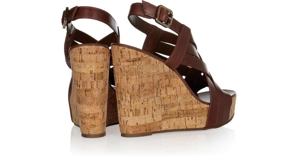 5d496d25e63a Tory Burch Ace Slingback Leather and Cork Wedge Platform Sandals in Brown -  Lyst