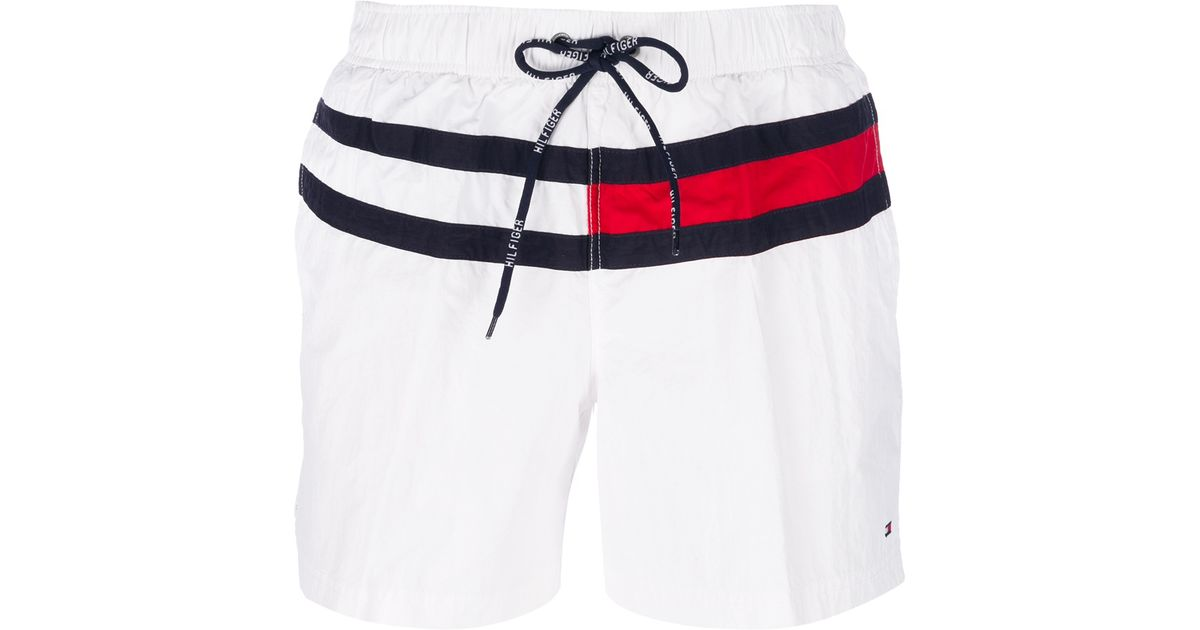 vente la moins chère amazon beau Tommy Hilfiger White Flag Swim Shorts for men