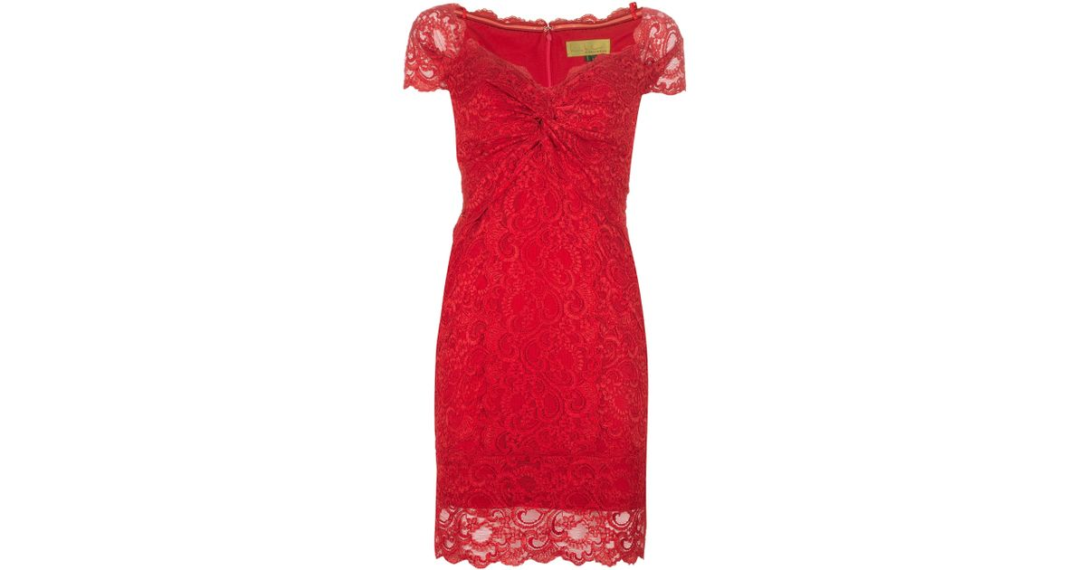 Nicole Miller Lace Dress in Red - Lyst