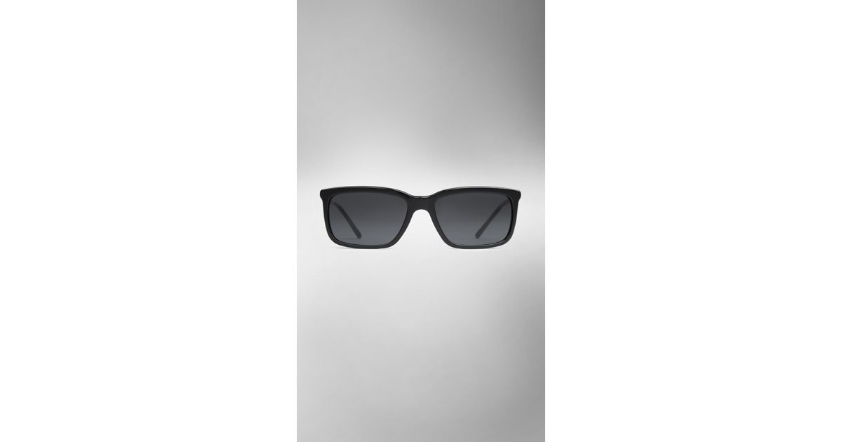 c38f1b359ec Burberry Check Arm Square Frame Sunglasses in Black for Men - Lyst