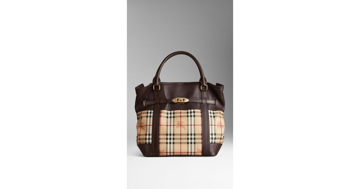 00cf23f12d25 Lyst - Burberry Medium Leather Haymarket Check Tote Bag in Brown