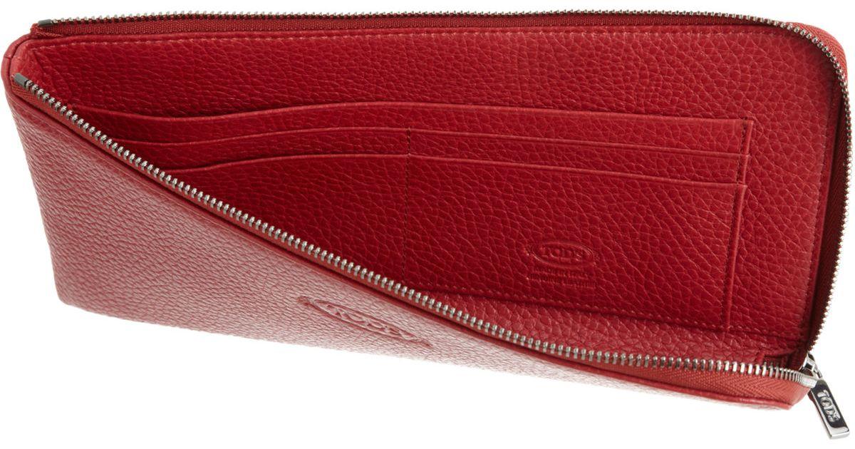 Tod S Zip Around Boarding Pass Wallet In Red For Men Lyst