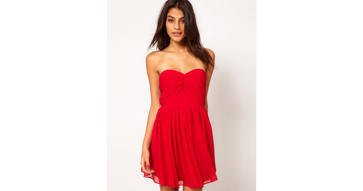 a4fa6e8772f6 ASOS Collection Mini Skater Dress with Sweetheart Neck in Red - Lyst
