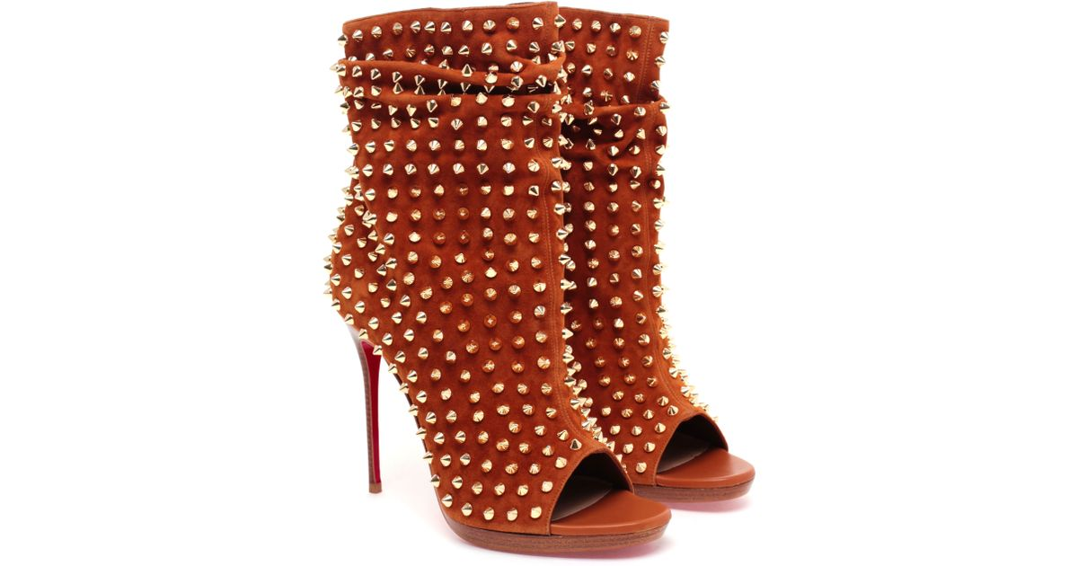 Christian louboutin Guerilla Studded Suede Ankle Boot in Orange ...