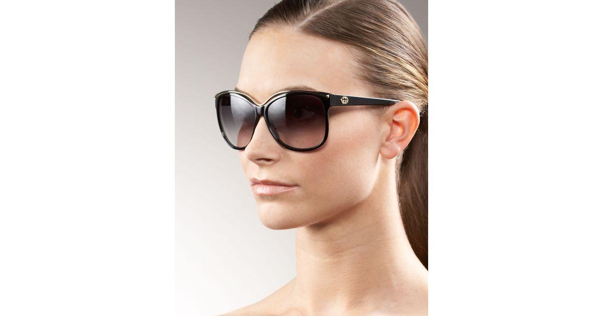 76d65b237de Gucci Cat Eye Sunglasses Black - Image Of Glasses