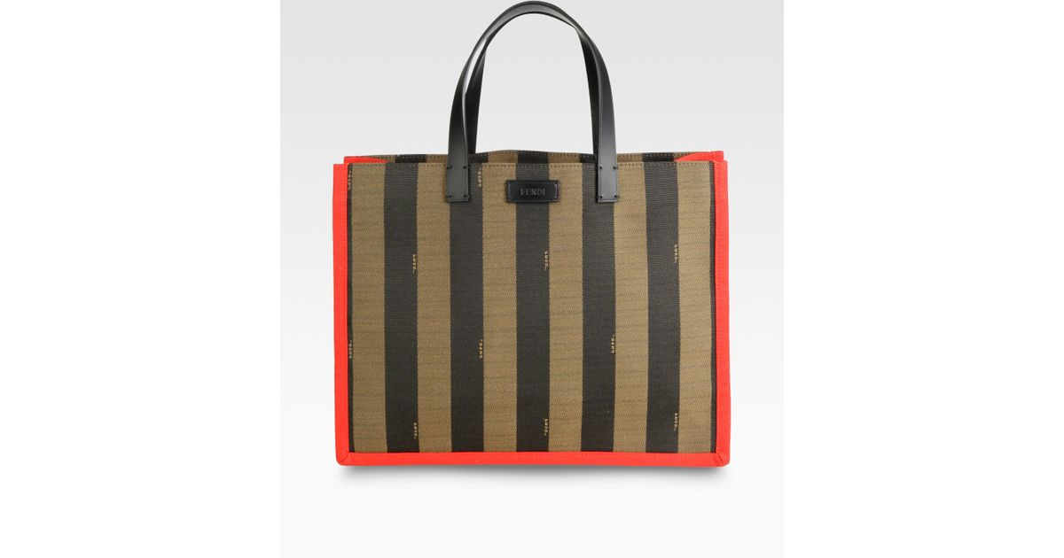 9306f8a1b Lyst - Fendi Pequin Busta Striped Canvas Tote in Red