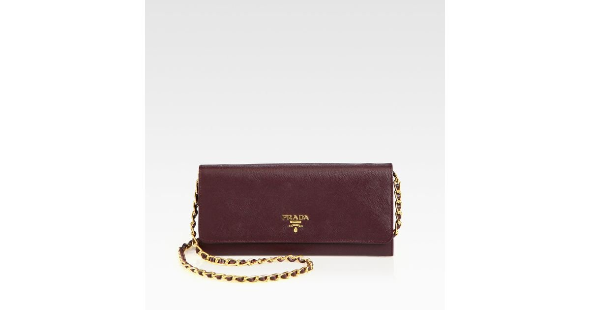 Prada Saffiano Metal Oro Wallet with Chain in Purple (bordeaux) | Lyst