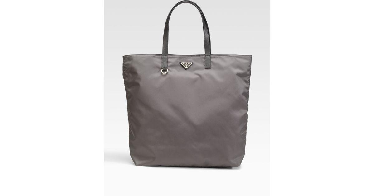 c4a1e8ae0d1 real prada vela nylon tote bag in gray lyst f2930 9b25d