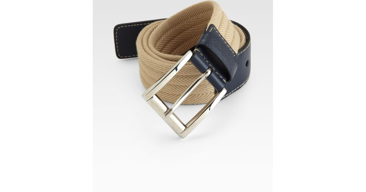 Prada Cintura Belt in Blue for Men (tan-blue) | Lyst