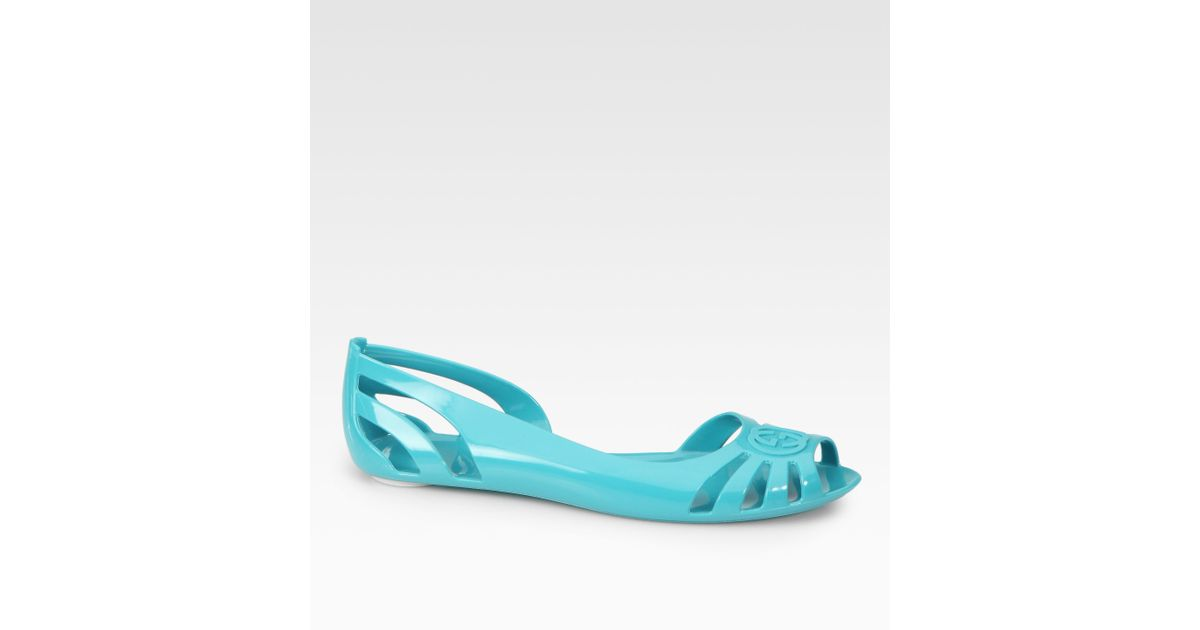 14f4f9fec Lyst - Gucci Marola Jelly Logo Sandals in Blue