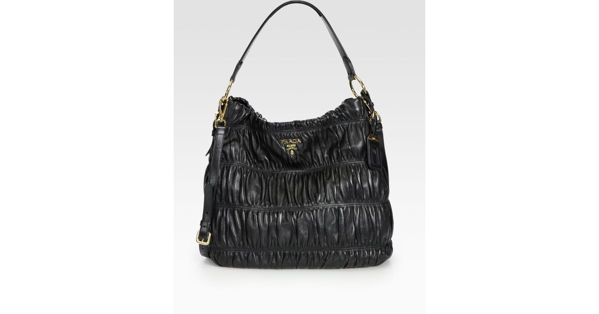 1ffeff879c Prada Nappa Gaufre Ruched Leather Hobo in Black