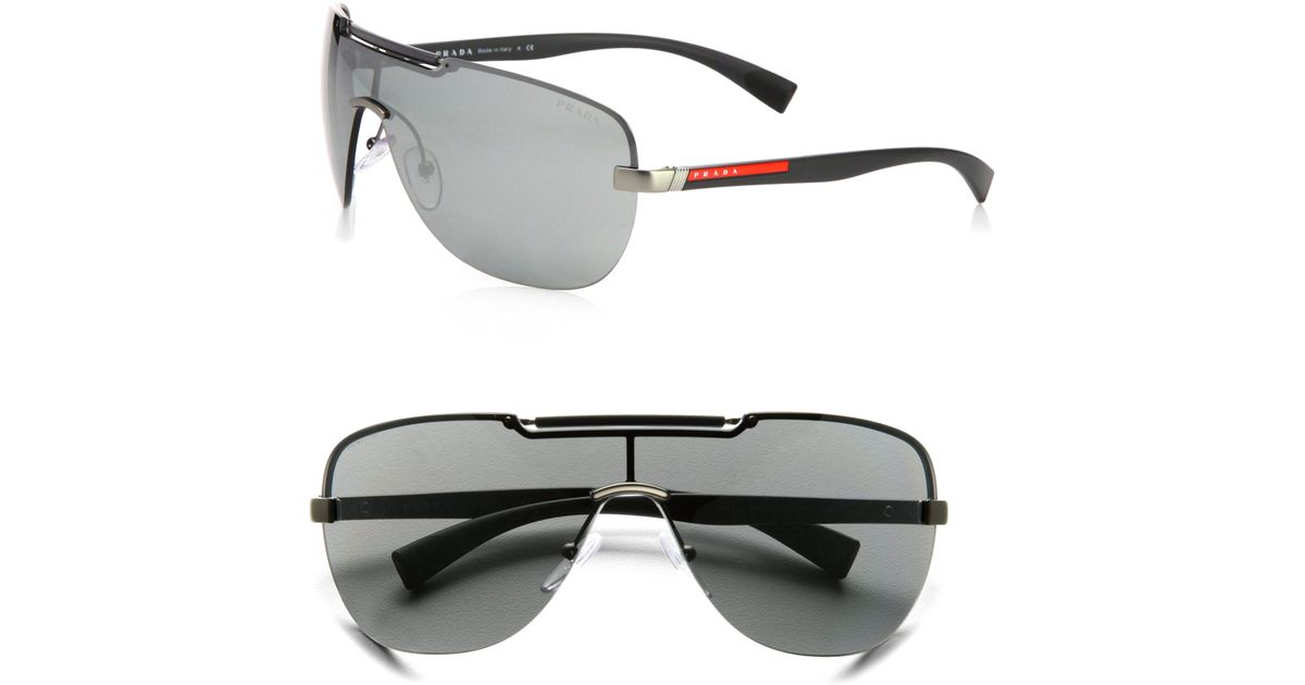 Prada Shield Sunglasses  prada metal shield sunglasses in black for men lyst