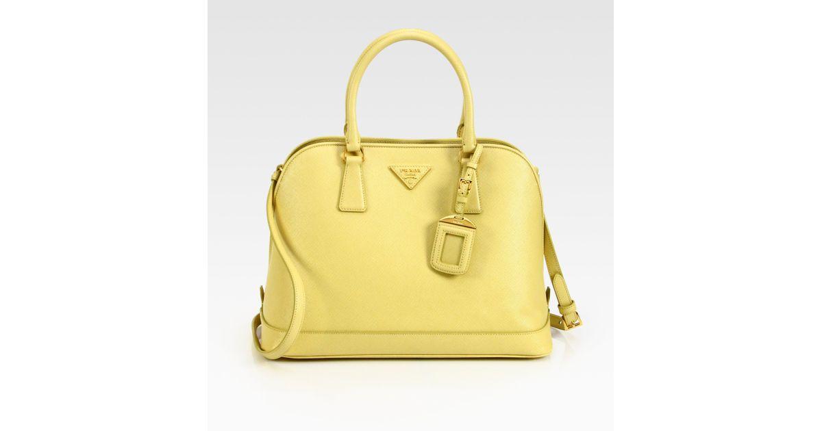 a5dae5b160 ... usa lyst prada saffiano promenade open top handle bag in yellow 96f7f  9adc5