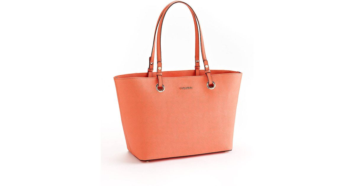Calvin klein Leather Tote Bag in Orange | Lyst