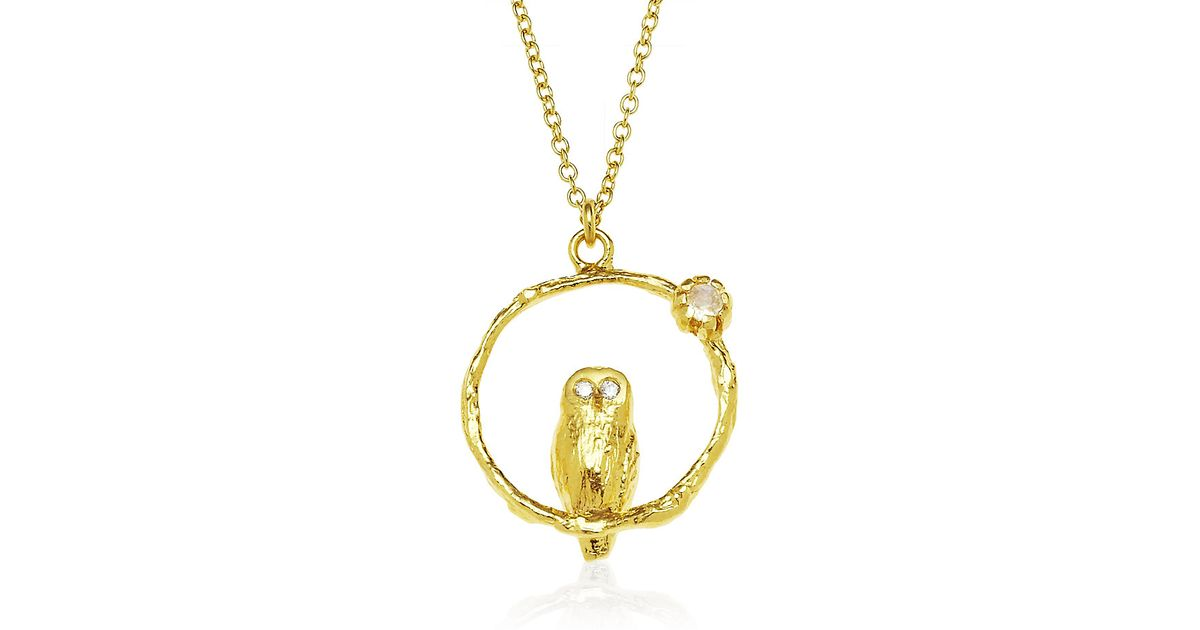alex monroe gold vermeil flower bird hoop necklace in
