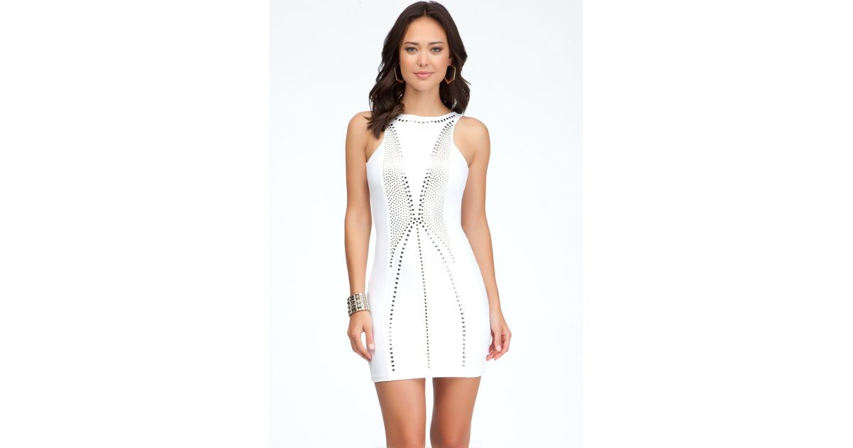 c1896ad0891a Bebe Open Back Studded Dress in White - Lyst