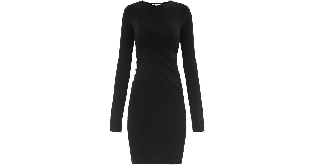 b01655eda66 T By Alexander Wang Twisted Stretch Mesh Jersey Dress in Black - Lyst
