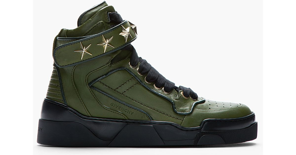 969f08ff9db5 Ellished Givenchy High Staremb In Lyst Sneakers Green Top Leather nzdzqI
