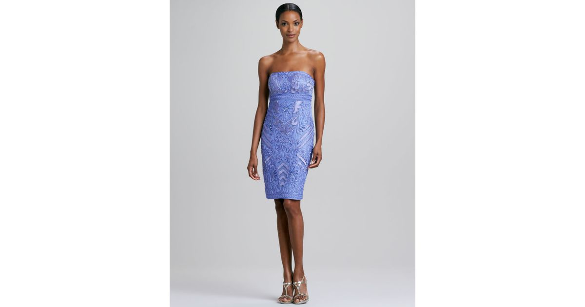 7149eeb83b7 Sue Wong Strapless Beaded Cocktail Dress in Blue - Lyst