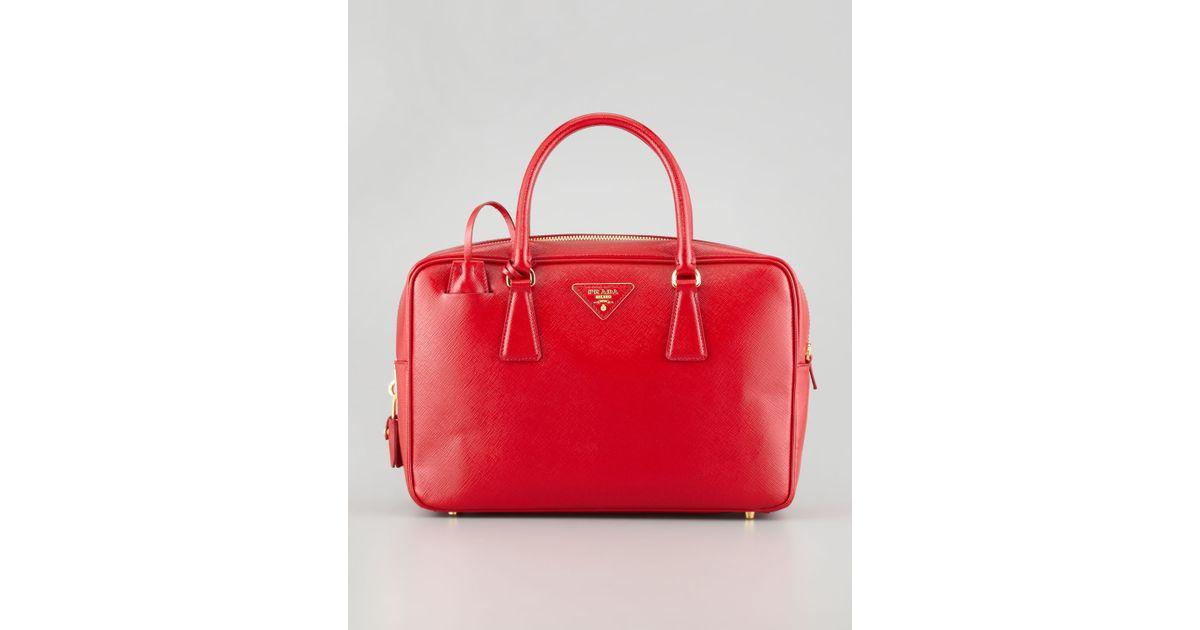 Prada Saffiano Vernice Tv Bag in Red | Lyst