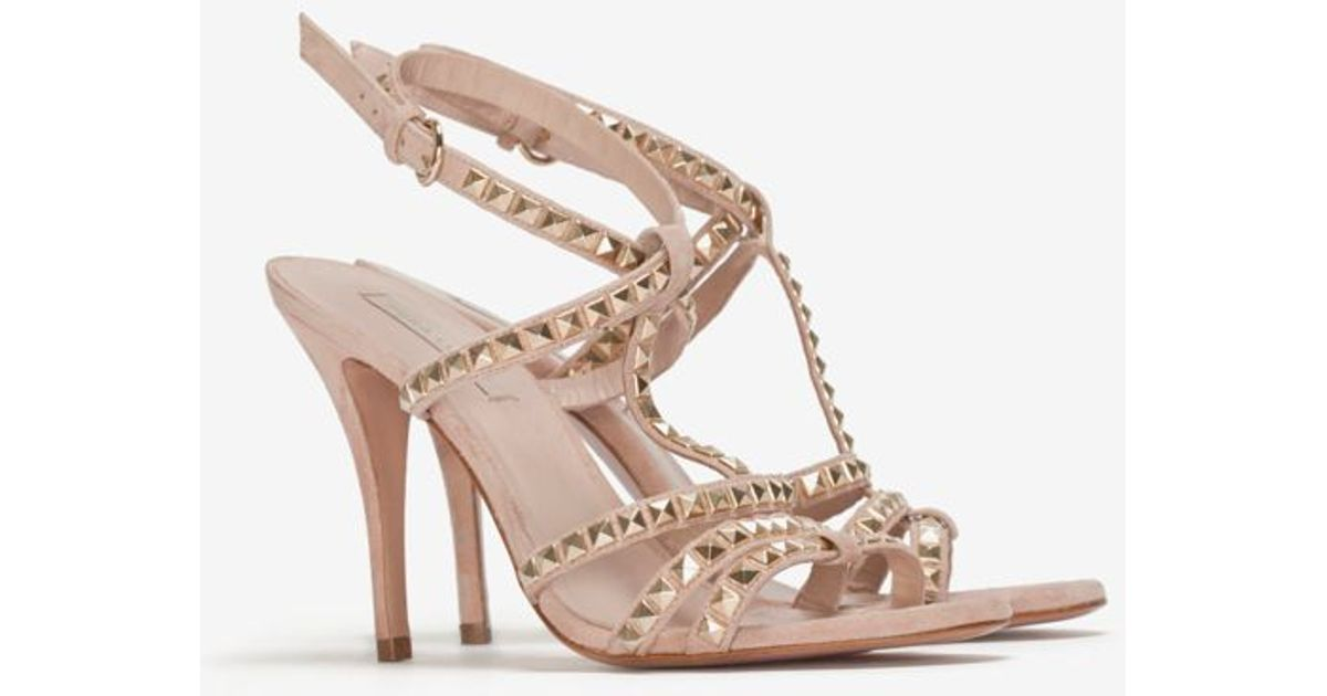 2c003e9fce Pura López Exclusive Gold Studded High Heel Sandal in Natural - Lyst