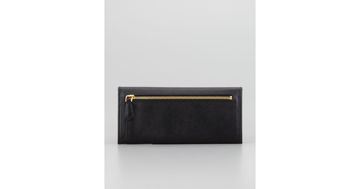9647048d09bf Prada Saffiano Triangle Continental Flap Wallet in Black - Lyst