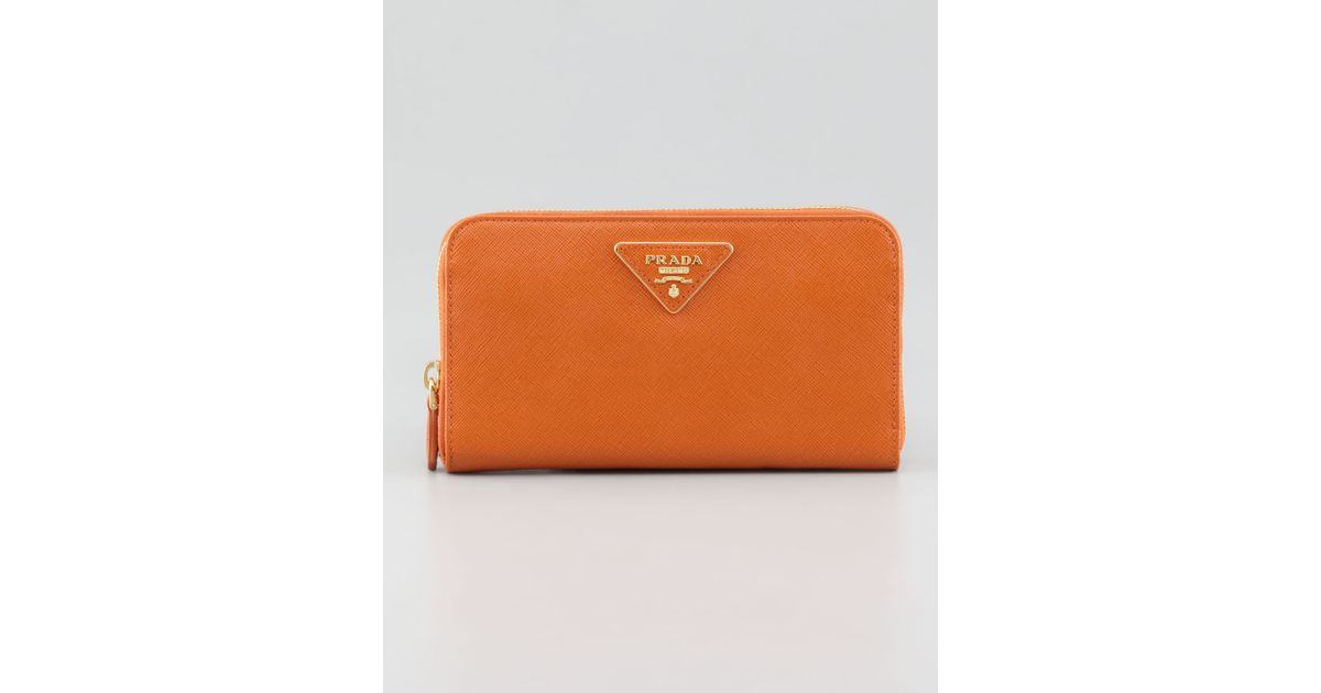 prada orange cloth wallet