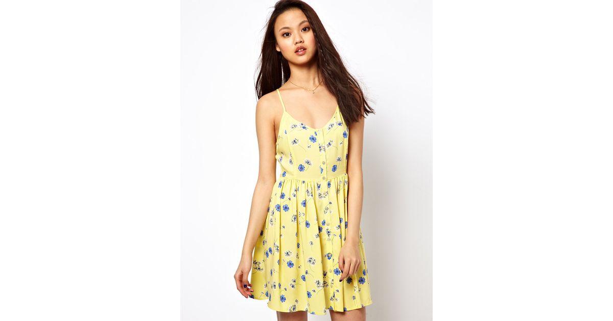 1ae6fcea5 Lyst - River Island Daisy Print Sun Dress in Yellow