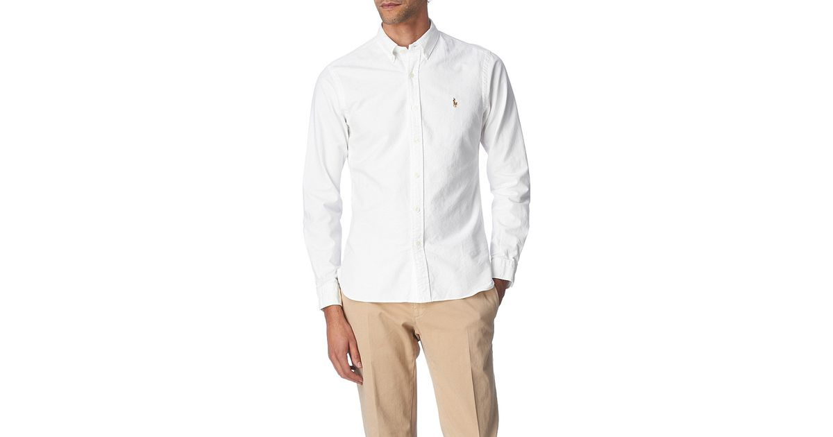 polo ralph lauren embroidered logo slim fit single cuff shirt in white. Black Bedroom Furniture Sets. Home Design Ideas