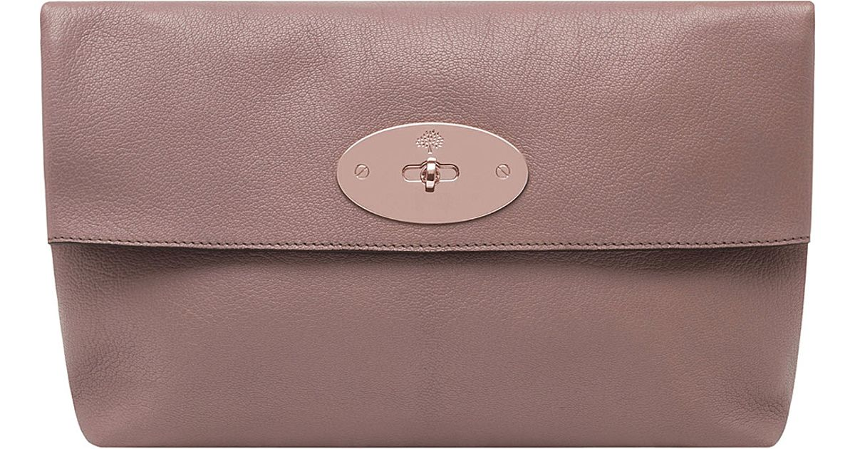 7723ae2848 Mulberry Clemmie Oversized Glossy Goat Leather Clutch in Purple - Lyst