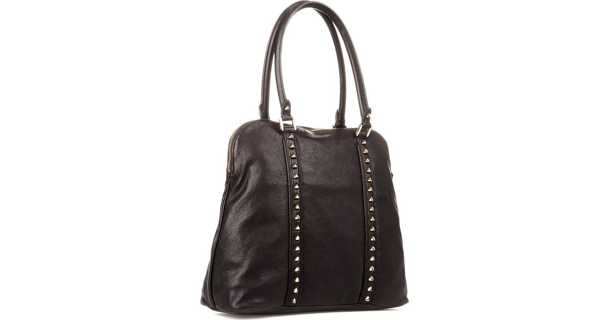 75976caa1078 Tory Burch Pyramid Stud Dome Tote in Black - Lyst