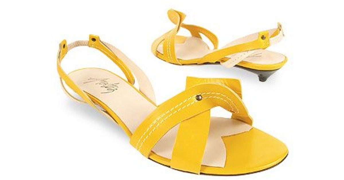 b9aeec5bbb6 Lyst - Amaltea Lemon   Cream Two-tone Leather Sandal Shoes in Yellow