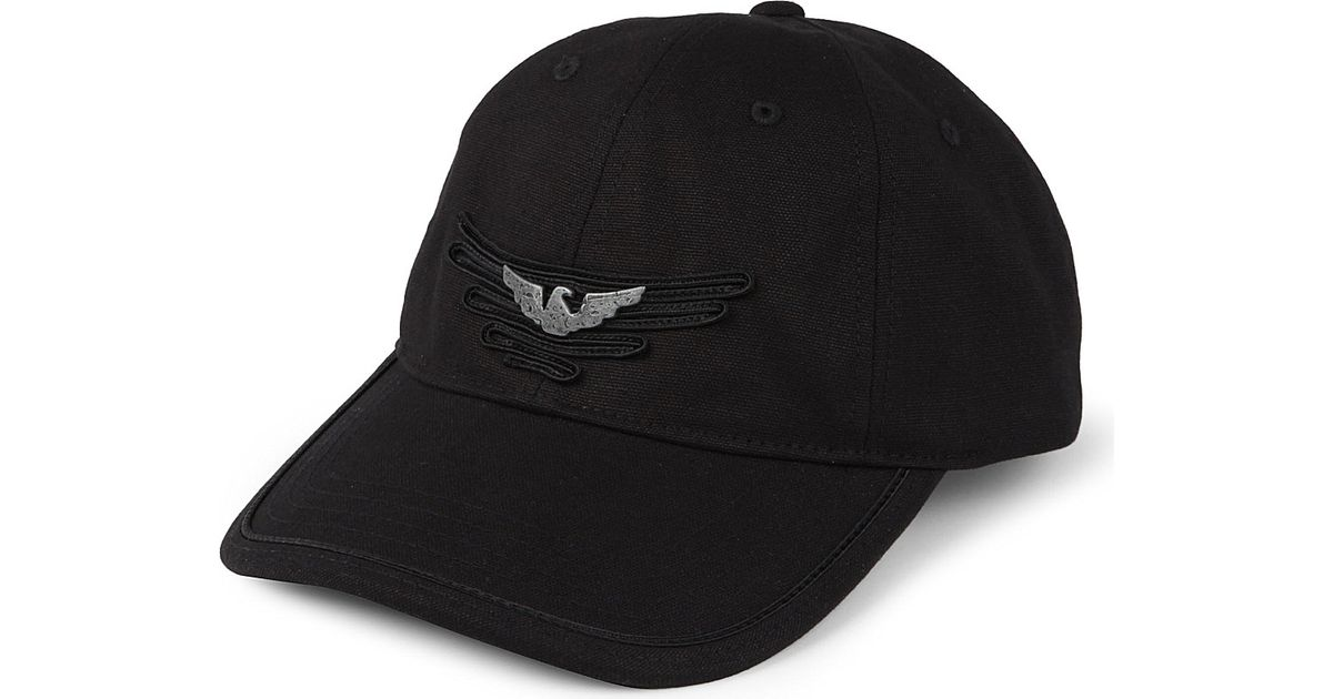 Armani Jeans Eagle Ribbon Baseball Cap in Black for Men - Lyst 1ff07e1f675