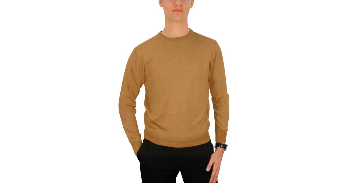 0cd1d9b56f45 Lyst - FORZIERI Men S Camel Cashmere Crewneck Sweater in Natural for Men