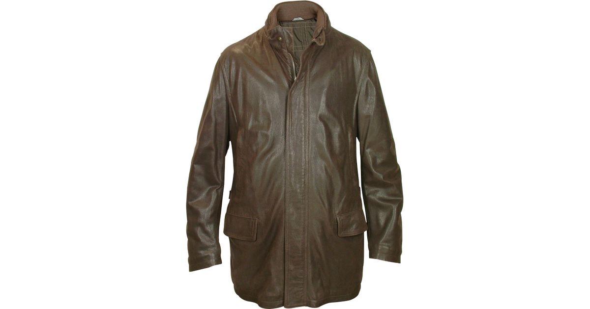 Forzieri Men's Dark Brown Leather Car Coat in Brown for Men | Lyst