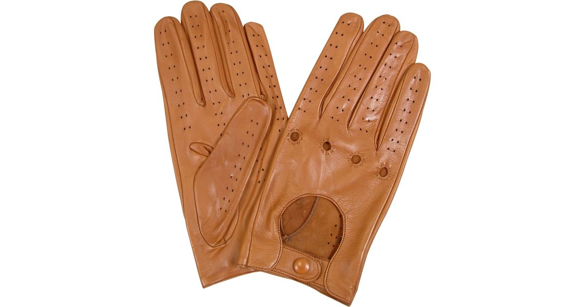 bfbf23dc35862 FORZIERI Men's Tan Italian Leather Driving Gloves in Brown for Men - Lyst