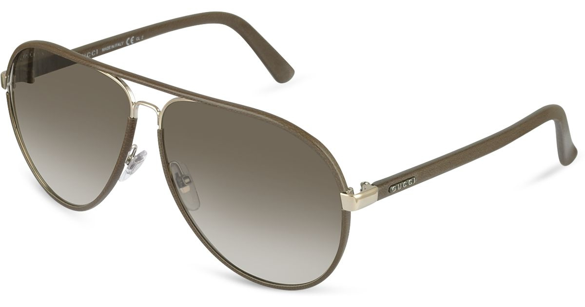 75835d1bf Gucci Mens Logo Leather Aviator Sunglasses in Brown for Men - Lyst