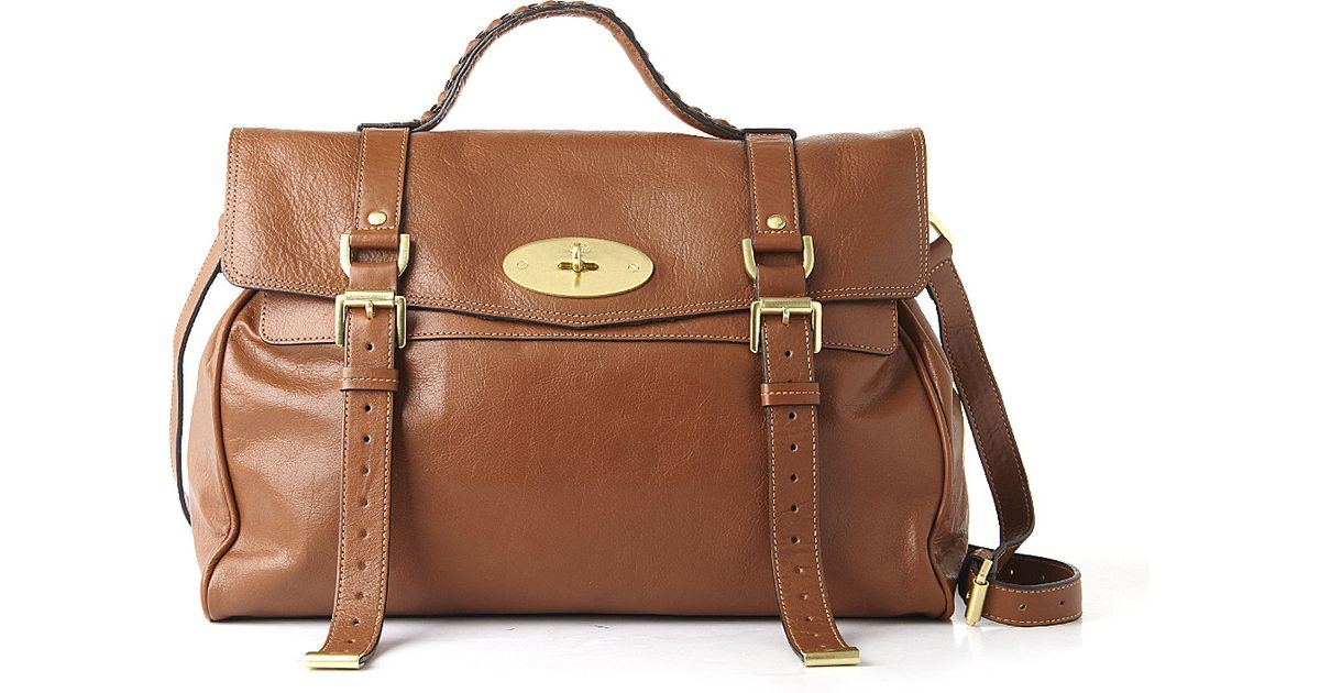 c7c2bcf9a8fe Mulberry Alexa Oversized Buffalo Leather Satchel in Brown - Lyst
