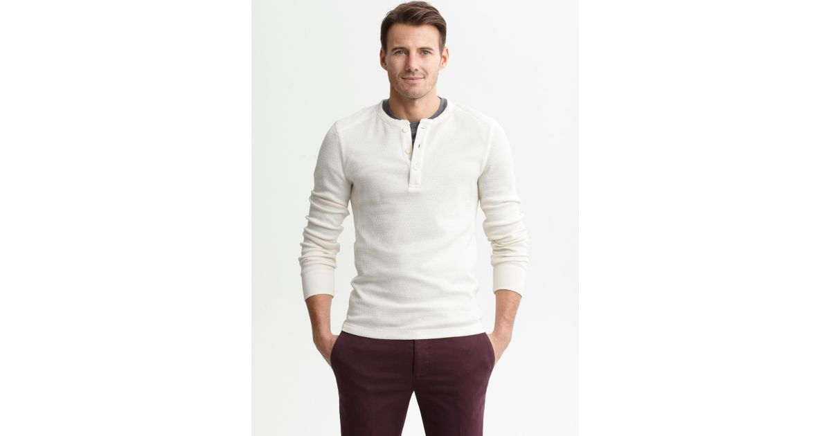 48dc844e Banana Republic Heritage Waffle Knit Henley in White for Men - Lyst