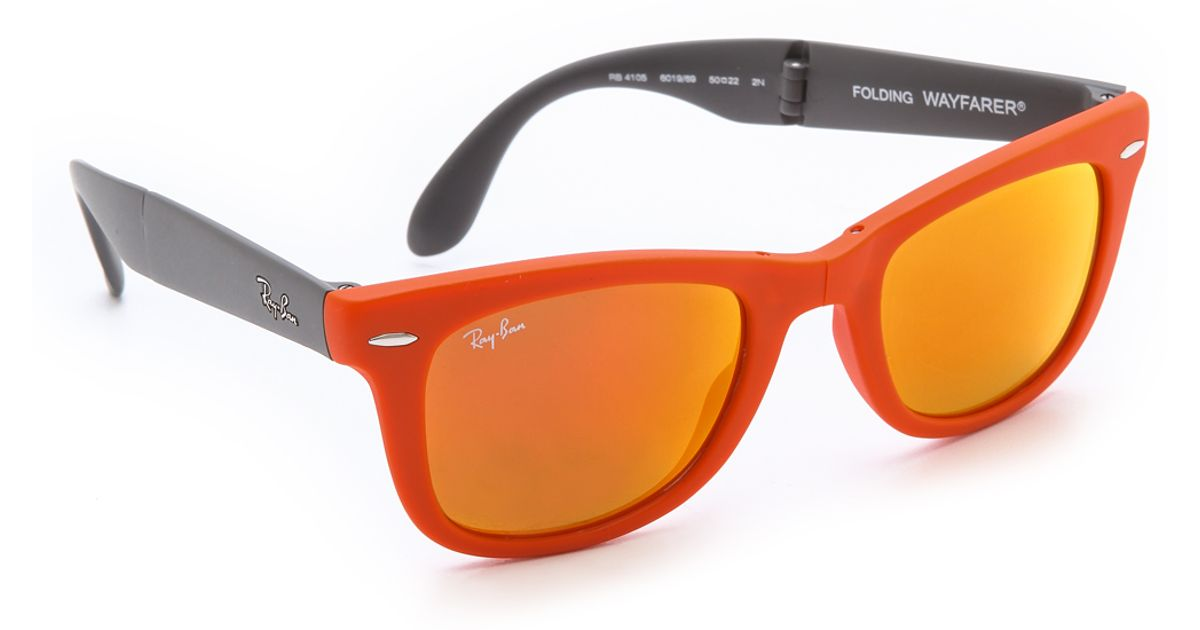 2716a4fd7832a Ray-Ban Folding Wayfarer Sunglasses in Orange - Lyst